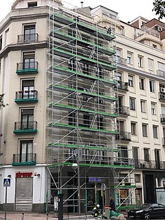 Scaffolding A temporary structure used to support a work crew and materials