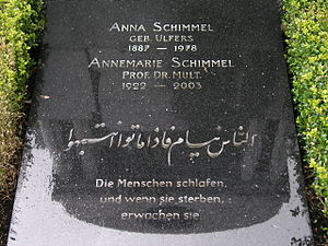 "Annemarie Schimmel - Annemarie Schimmel tomb with a quotation from Ali ibn Abitaleb: ""People are asleep. When they die, they wake up."""