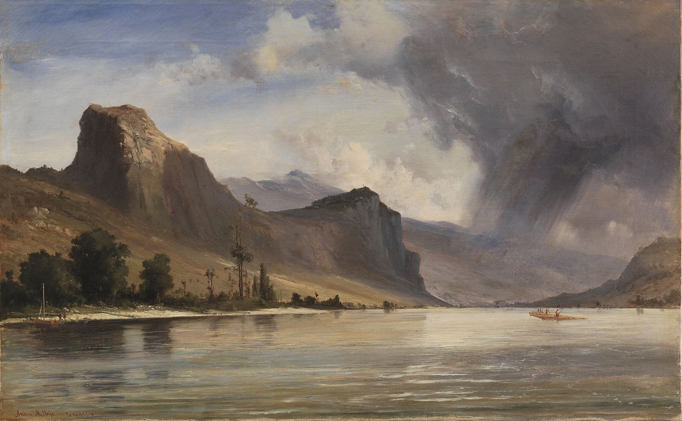 Coastal Landscape with Mountains. A Storm Brewing