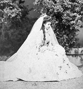 Infanta Maria Theresa of Portugal - Infanta Maria Theresa of Portugal in her wedding gown, 1873.