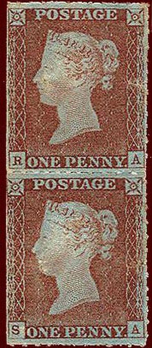 Postage stamp separation - Vertical pair of 1d red, from Plate 70, perforated with the Archer experimental roulette.