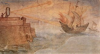 Giulio Parigi - Painting by Giulio Parigi in Florence, Italy, showing Archimedes' mirror used to burn Roman ships.