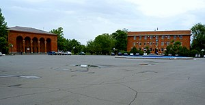 The cultural palace (left) and town hall (right) at the Armavir central square