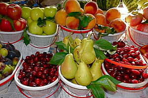 Agriculture in Armenia - Cornelian cherries, figs, pears, peaches and apples sold at a market in Yerevan are among a few of Armenian agricultural products