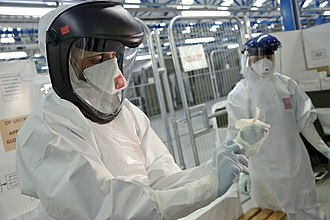 Biological hazard - NHS medics practice using protective equipment used when treating Ebola patients