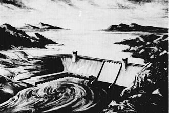 Rampart Dam - An artist's rendition of the proposed dam