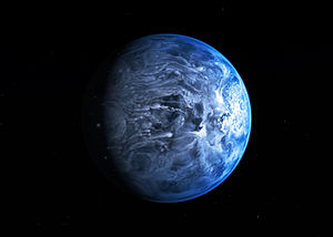 Artist's impression of the deep blue planet HD 189733b.jpg