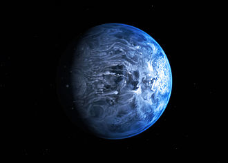 HD 189733 b - An artist's conception of HD 189733 b following the 2013 confirmation of the planet's blue color by the Hubble Space Telescope. The appearance of HD 189733 b beyond the blue color is unknown.