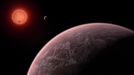 Wêne:Artist's impression of the ultracool dwarf star TRAPPIST-1 from close to one of its planets.ogv