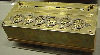 A Pascaline, an early calculator. (Machine à c...