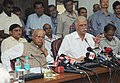 Ashok Gajapathi Raju Pusapati holding a Press Conference on the achievements of the ministry, in New Delhi on September 09, 2014. The Minister of State for Civil Aviation, Shri G.M. Siddeshwara is also seen (1).jpg