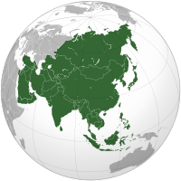 Globe centered on Asia, with Asia highlighted. The continent is shaped like a right-angle triangle, with Europe to the west, oceans to the south and east, and Australia visible to the south-east.