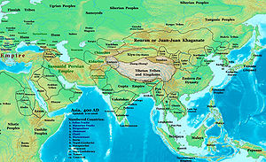 Rouran Khaganate - Asia in 400, showing the Rouran Khaganate, the Northern Wei, the Tuyuhun, Southern Liang, Later Yan, Yueban and Northern Liang