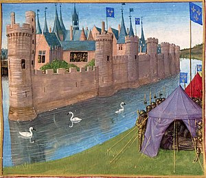 Sigebert I - The assassination of Sigebert by Jean Fouquet, from the fifteenth century Grandes Chroniques de France.