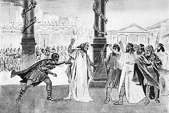 Philip II of Macedon - Assassination of Philip of Macedon. 19th century illustration.