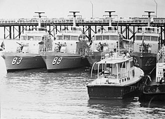 Attack-class patrol boat - Attack-class boats at Stokes Hill Wharf, Darwin March 1975 (after Cyclone Tracy)