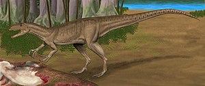 Australovenator - Life restoration of Australovenator feeding on carcass of Diamantinasaurus