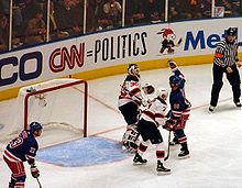 Sean Avery attempts to distract Brodeur during game 3 of the first round of  the 2008 Stanley Cup Playoffs. 778c1ba9c