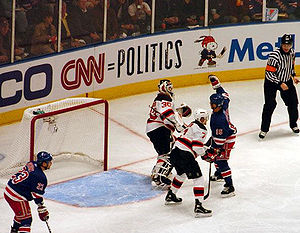 Devils–Rangers rivalry - Sean Avery distracts Martin Brodeur during Game 3 of the 2008 Eastern Conference Quarterfinals.