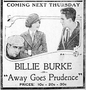 Away Goes Prudence - A newspaper advertisement for the film.