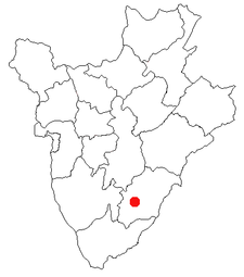 Location of Rutana in Burundi