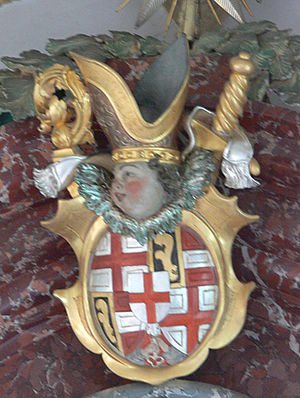 Marquard Rudolf von Rodt - Coat of arms of the prince-bishop at the Wendelinus altar of the church in Baitenhausen