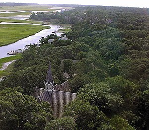 Bald Head Island, North Carolina - View of Bald Head Island from Old Baldy lighthouse