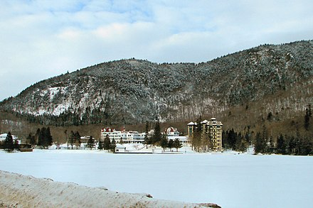 "The Balsams Grand Resort Hotel in Dixville Notch, New Hampshire, the site of the first ""midnight vote"" in the New Hampshire primary. Balsams Grand Hotel - Dixville NH.JPG"