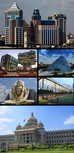 Clockwise from top: UB City, Bagmane Tech Park, Infosys, Shiva statue, Glass house at Lal Bagh, Vidhana Soudha,