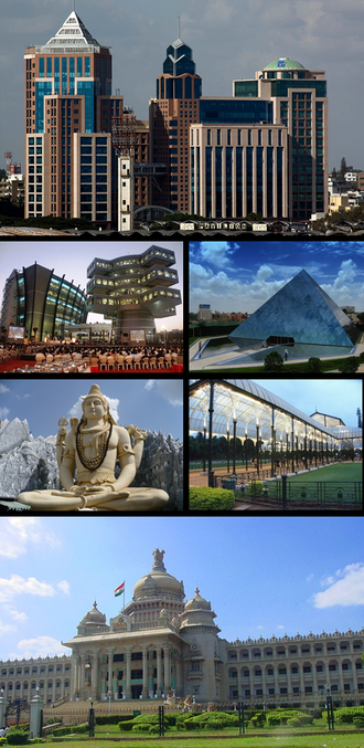 Bangalore - Clockwise from top: UB City, Infosys, Glass house at Lal Bagh, Vidhana Soudha, Shiva statue, Bagmane Tech Park