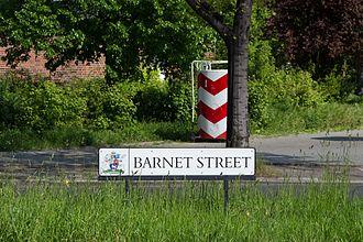 "London Borough of Barnet - Street sign ""Barnet Street"" in the Tempelhof-Schöneberg district of Berlin"