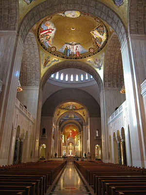 Basilica of the National Shrine of the Immaculate Conception - Interior view, including the mosaics completed in 2006.