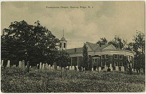 Presbyterian Church in Basking Ridge - Oak tree and church, on pre-1923 postcard