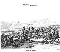 Print showing French cavalry attacking in the Battle of Sagonte