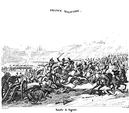 Print of a furious melee with cavalrymen hacking at each other with swords and an abandoned cannon in the left foreground