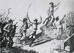 un groupe de Vendéens attaquent un petit pont barré par une charrette remplie de foin