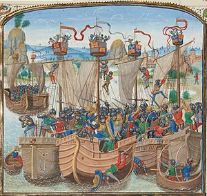 The naval battle of La Rochelle, Chronicle of Jean Froissart, 15th Century.