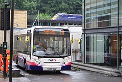Bath Bus Station - First 44915 (YX09AHA) with FGW 43017 passing behind.JPG