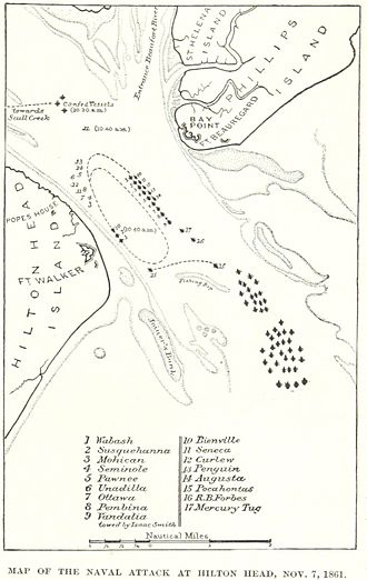 Battle of Port Royal - A map of the battle