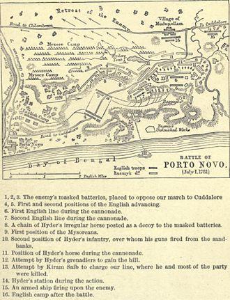Battle of Porto Novo - Map of the battle