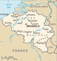 Brusel (Brussels) , Antverpy (Antwerpen), Gent (Ghent), Charleroi, Liège, Brugy a Namur sú siedmimi najväčšími mestami v Belgicku