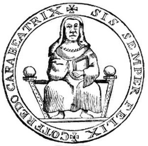 Beatrice of Lorraine - Line drawing of Beatrice's seal by Ludovico Antonio Muratori (1738). The original wax seal is still extant and attached to a grant Beatrice made to the church of San Zeno in Verona in 1073. The script around the seal reads: SIS SEMPER FELIX, COTFREDO CARA BEATRIX (Beatrice, dear to Godfrey, may you always be happy).