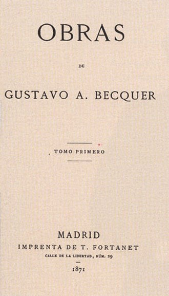 Gustavo Adolfo Bécquer - Title page of Becquer's 'Obras' (1871), First Edition