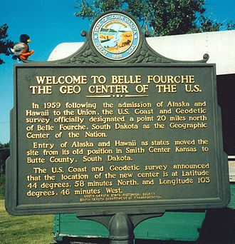 Geographic center of the United States - Sign commemorating the geographic center of the fifty states in Belle Fourche, South Dakota.
