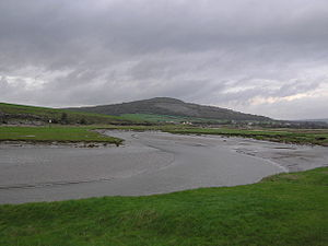 River Keer - Bend in the Keer (with Warton Crag in the background) near Carnforth, Lancashire, England