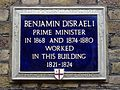Benjamin Disraeli Prime Minister in 1868 and 1874-1880 worked in this building 1821-1824.jpg
