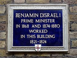 Benjamin disraeli prime minister in 1868 and 1874 1880 worked in this building 1821 1824