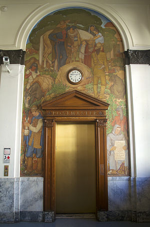 United States Post Office (Berkeley, California) - Image: Berkeley Post Office Elevator Mural