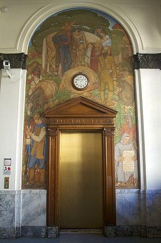 United States Post Office (Berkeley, California) - Image: Berkeley Post Office Elevator Mural