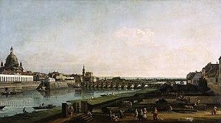 Dresde vue de la rive droite de l'Elbe au dessus du pont Auguste